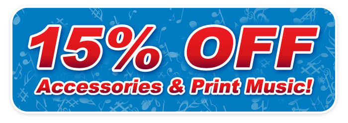15% OFF print music and accessories