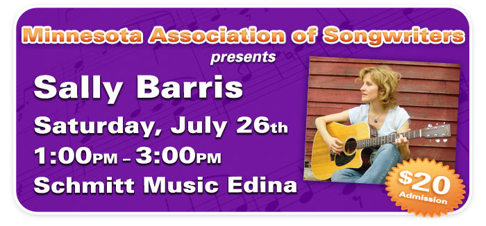 MAS presents Songwriting Workshop with Sally Barris at Schmitt Music Edina