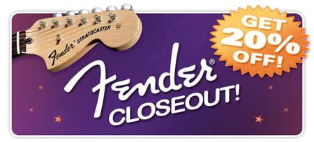 Closeout pricing on all Fenders