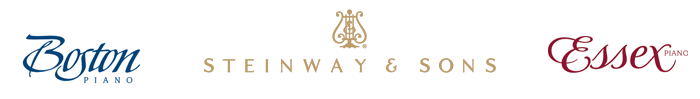 Steinway and Sons, Boston, Essex piano logos