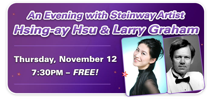 Steinway Artist Hsing-ay Hsu and Larry Graham in Concert at Schmitt Music Denver!