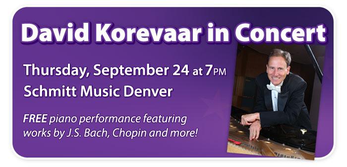 Pianist David Korevaar in Concert at Schmitt Music Denver!