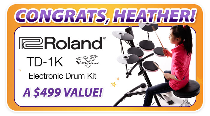 WINNER of Schmitt Music's Roland TD-1K Giveaway at the Minnesota State Fair!