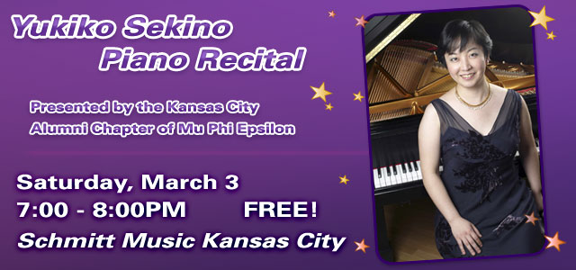Mu Phi Epsilon Musicale: Yukiko Sekino, Piano Recital at Schmitt Music Kansas City