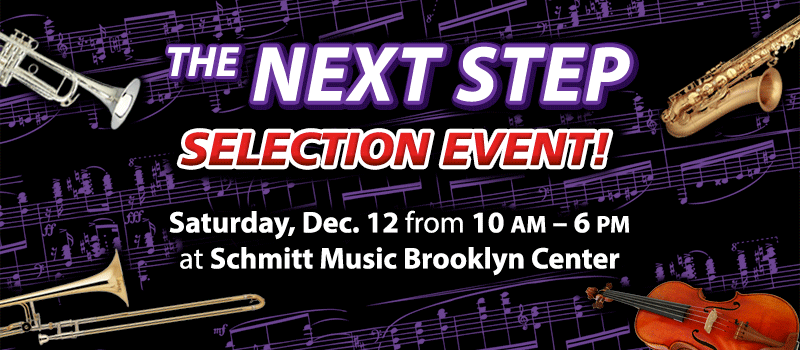 """The Next Step"" Band & Orchestra Instrument Selection Event at Schmitt Music Brooklyn Center!"