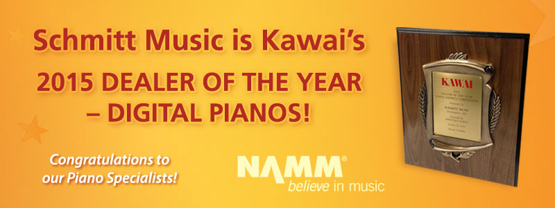 "Schmitt Music named ""Kawai Dealer of the Year, Digital Pianos"" for 2015!"