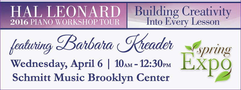 Spring Expo: Hal Leonard Piano Workshop featuring Barbara Kreader at Schmitt Music Brooklyn Center