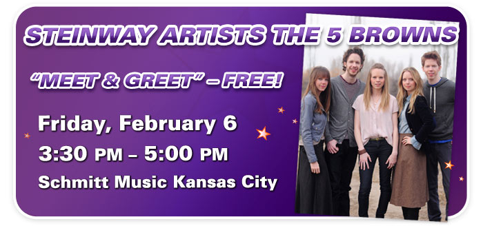 """Meet & Greet"" with Steinway Artists The 5 Browns at Schmitt Music Kansas City"