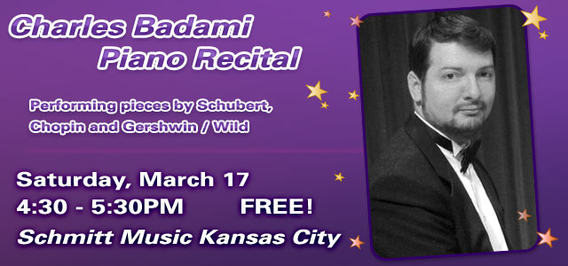 Charles Badami Piano Recital at Schmitt Music Kansas City