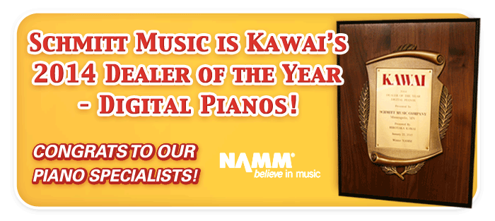 "Schmitt Music Awarded Kawai's ""Dealer of the Year, Digital Pianos"" at the Winter NAMM Show!"