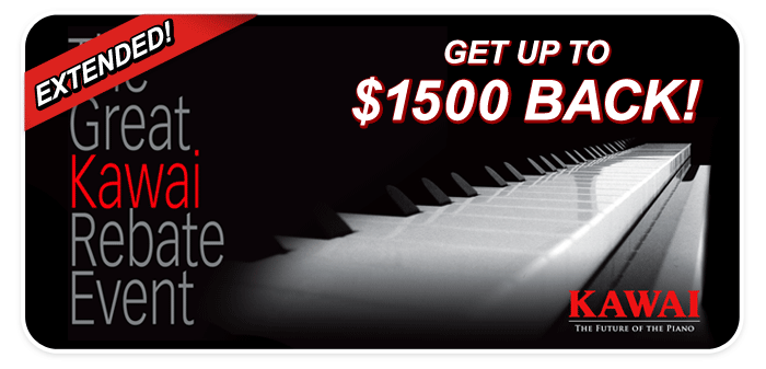 Kawai Factory Rebates up to $1500 EXTENDED through March!