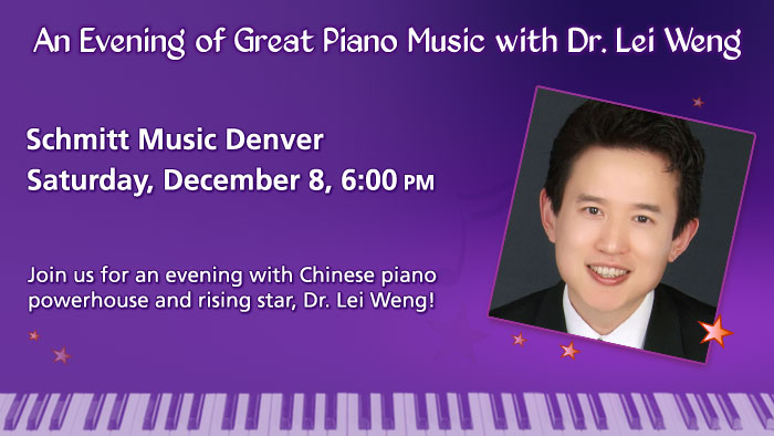 An Evening with Pianist Dr. Lei Weng at Schmitt Music Denver