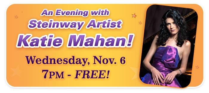 An Evening with Steinway Artist Katie Mahan at Schmitt Music Denver!