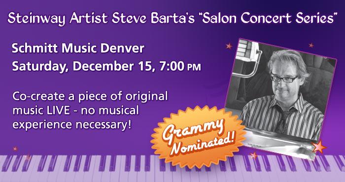 """Steinway Artist Steve Barta's """"Experiential"""" Salon Concert Series at Schmitt Music Denver"""