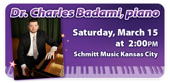 Dr. Charles Badami Piano Recital at Schmitt Music Kansas City!
