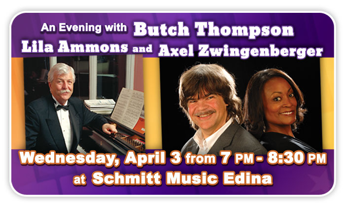 An Evening with Butch Thompson, Lila Ammons & Axel Zwingenberger at Schmitt Music Edina!