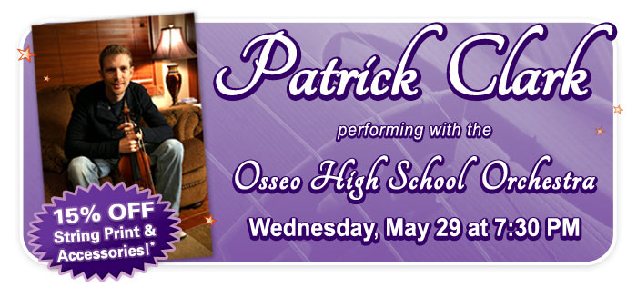 Patrick Clark performs with the Osseo High School Orchestra – GET 15% OFF at The String Shop!
