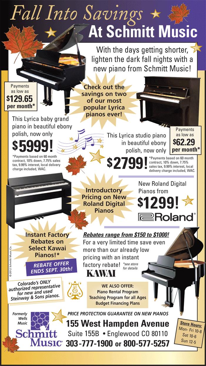 fall piano specials at schmitt music denver schmitt music. Black Bedroom Furniture Sets. Home Design Ideas