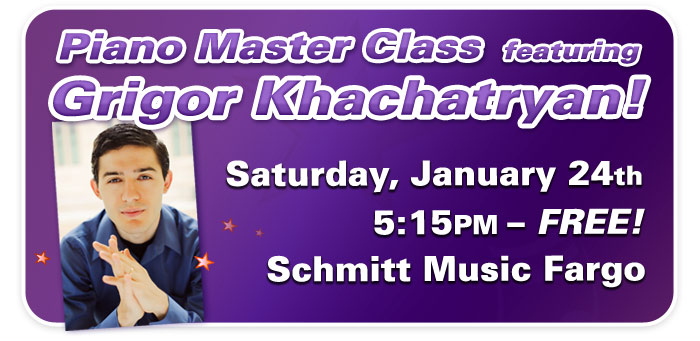 Free Piano Master Class with Dr. Grigor Khachatryan at Schmitt Music Fargo!