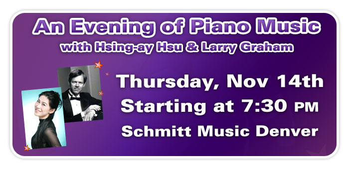 An Evening of Piano Music with Steinway Artist Hsing-ay Hsu & Special Guest Larry Graham at Schmitt Music Denver!