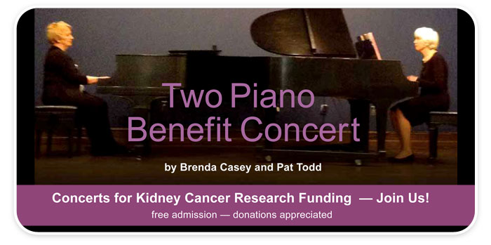 """Two Piano Benefit Concert"" for Kidney Cancer Research Funding at Schmitt Music Kansas City!"