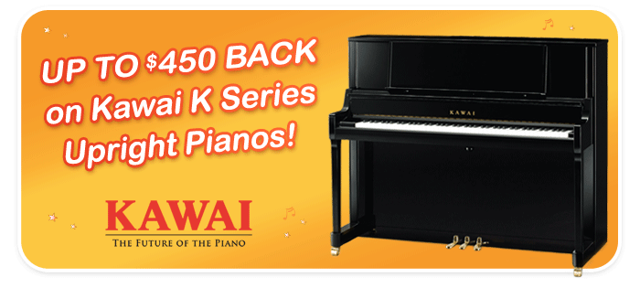 Kawai Factory Rebates up to $450 on K Series Upright Pianos in August!