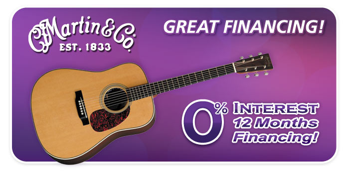 12 Months Interest Free Financing on Martin Guitars at Schmitt Music!
