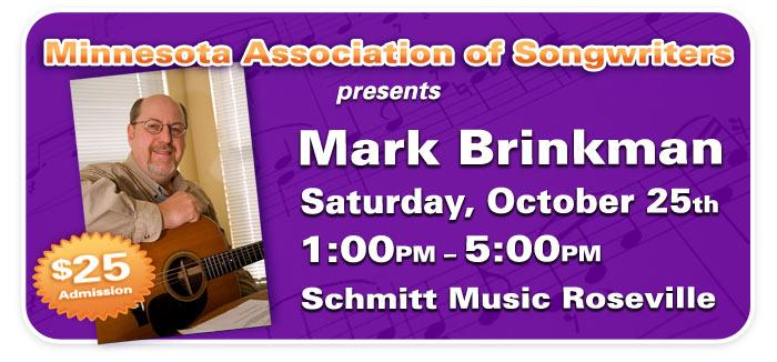 "Songwriting Workshop with Mark ""Brink"" Brinkman at Schmitt Music Roseville!"