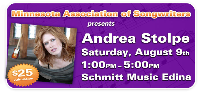 Songwriting & Lyric Workshop with Andrea Stolpe at Schmitt Music Edina!