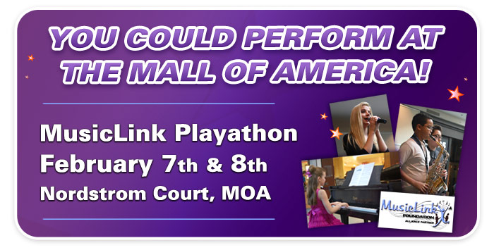 MusicLink Playathon at the Mall of America – Sponsored by Schmitt Music and MMTA!