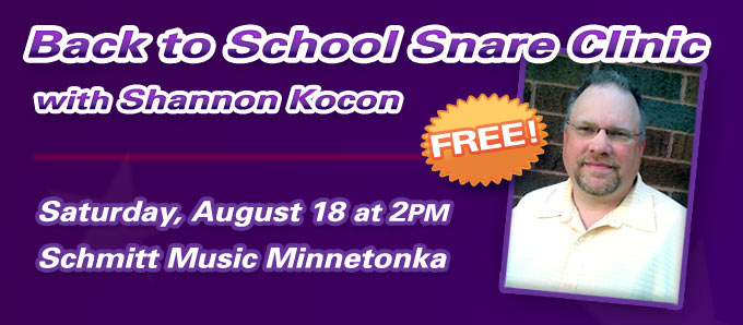 Back-to-School Snare Clinic at Schmitt Music Minnetonka