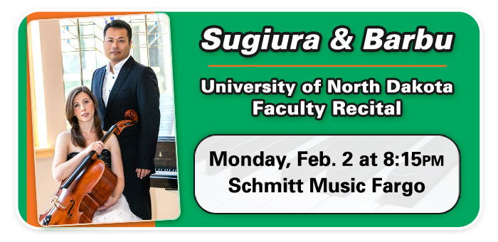 UND Faculty Recital with Nariaki Sugiura and Simona Barbu at Schmitt Music Fargo!