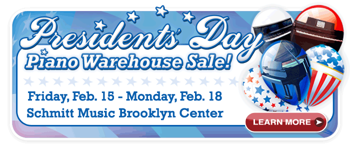 Presidents' Day Piano Warehouse Sale at Schmitt Music Brooklyn Center!