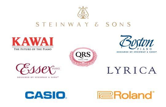 Steinway & Sons, Boston, Essex, Kawai, Lyrica, Casio, QRS Player technology systems