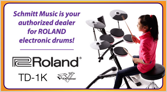 Schmitt Music is your authorized dealer for Roland electronic drums! TD-1K V-drums