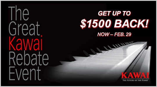 The Great Kawai Rebate Event - up to $1500 BACK, now through February 29th