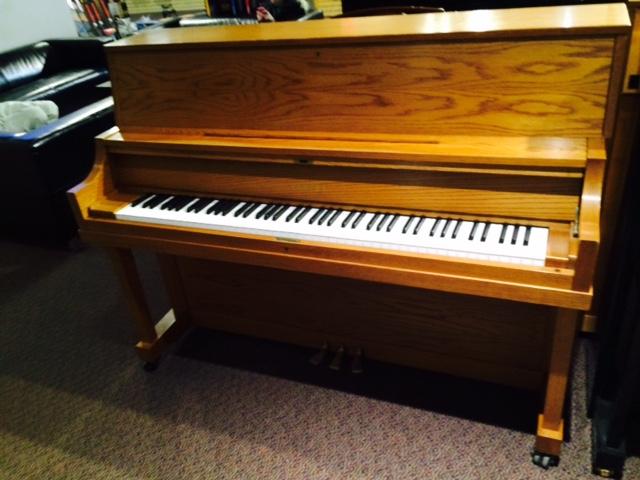 used yamaha p22 satin oak upright piano schmitt music. Black Bedroom Furniture Sets. Home Design Ideas