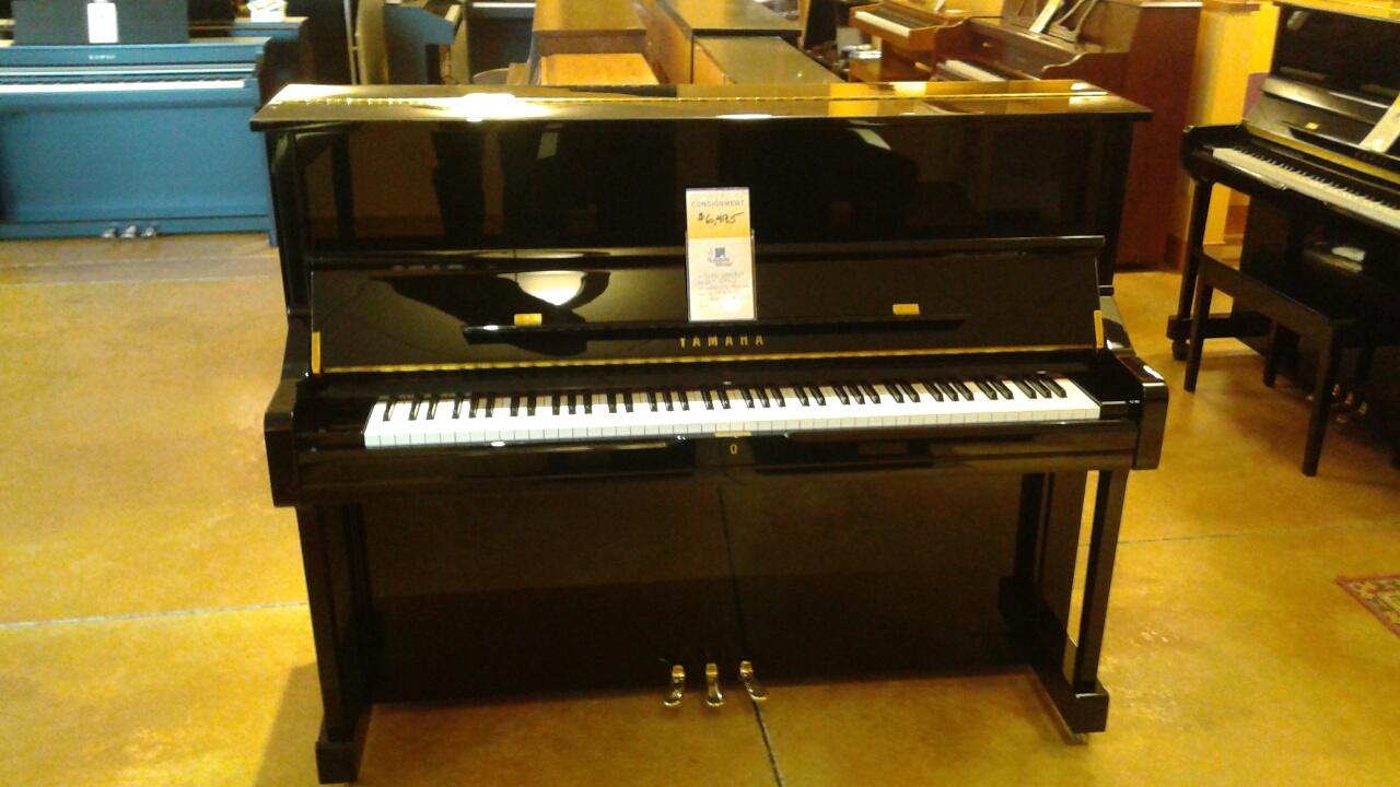 Used yamaha u1 48 ebony polish studio piano schmitt music for Piano u1 yamaha price