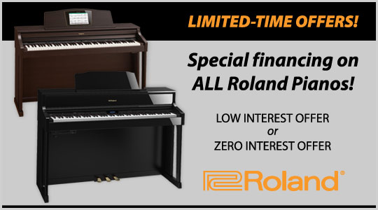Limited-time offer, special financing on Roland digital pianos