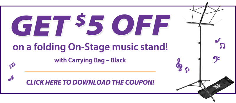 Get $5 OFF on a folding On-Stage music stand with carrying bag