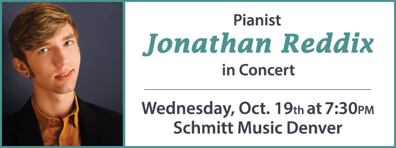 Pianist Jonathan Reddix in Concert at Schmitt Music Denver