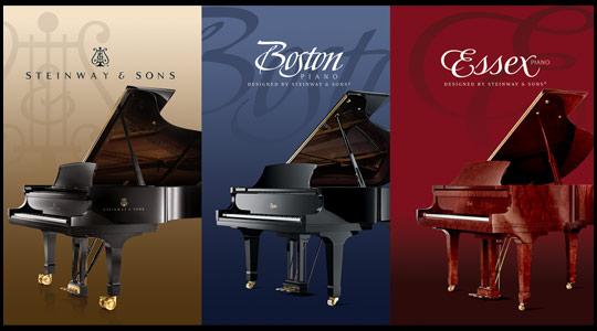 Steinway & Sons pianos, Boston pianos, Essex pianos