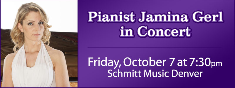 Pianist Jamina Gerl in concert at Schmitt Music Denver