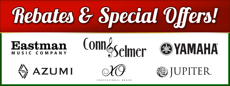 Rebates and Special offers on band & orchestra instruments from Eastman, Azumi, XO, Jupiter, Conn-Selmer, Yamaha