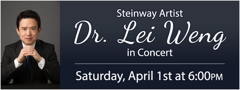 Steinway Artist Dr. Lei Weng in Concert at Schmitt Music Denver