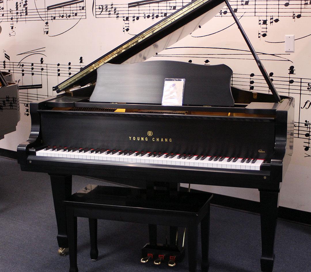 Used Young Chang G-150 1993 Ebony Satin Grand Piano at Schmitt Music Omaha