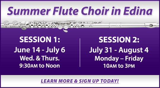 Summer Flute Choir in Edina: two sessions beginning June 14 and July 31