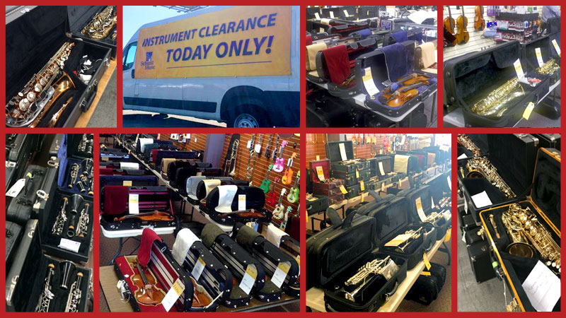 Band and Orchestra instrument clearance: saxophone, clarinet, flute, violin, viola, trumpet, trombone clearance sale