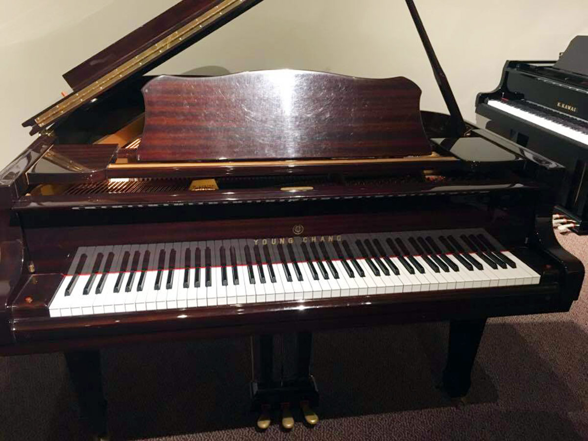 used young chang g185 mahogany grand piano schmitt music. Black Bedroom Furniture Sets. Home Design Ideas