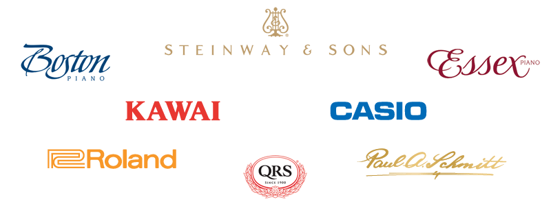 Steinway and Sons, Boston, Essex, Kawai, Casio, Roland, Paul A Schmitt, QRS